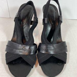 Donald Pliner black mesh/elastic Napa heels